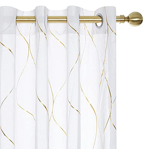 Deconovo Grommet Top Gold Foil Printed Wave Pattern Semi Sheer Curtains Linen Look Voile Draperies for Living Room 52W x 84L Inch White Set of 2 Panels