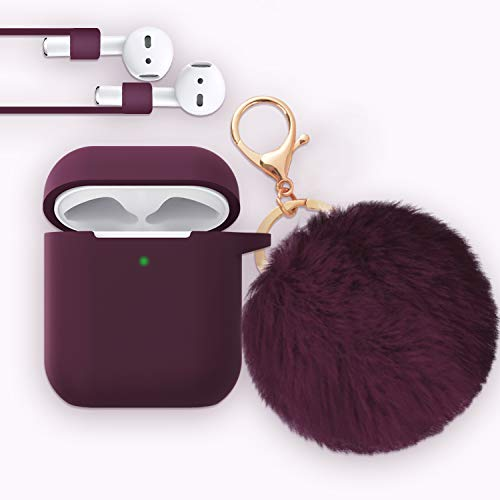 for Airpods Case - Bluewind Drop Proof Air Pods Protective Case Cover Silicone Skin, with Cute Fur Ball Airpods Keychain/Strap, Portable Apple Airpods Accessories (Upgrade Burgundy)