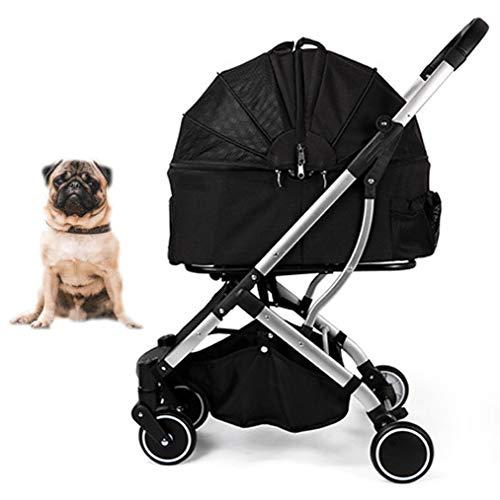HD2DOG reiswieg voor huisdieren, opvouwbare kinderwagen met 4 wielen, voor kleine middelgrote huisdieren XTM506