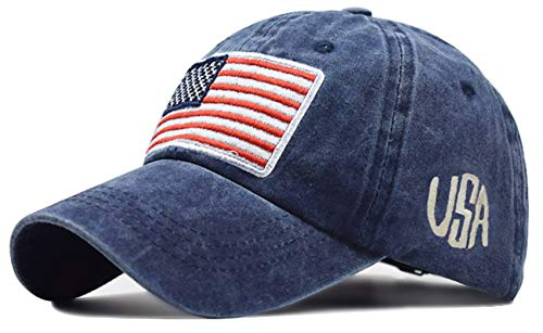 IZUS American Flag,Distressed Baseball Hat – 100% Distressed Cotton Dad Hat Embroiderred for Adult (Navy)