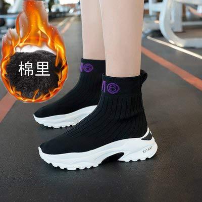 Shukun enkellaarsjes Sokken Schoenen Vrouwelijke Herfst Dikke onderkant Verhoogde Casual Schoenen Sportschoenen Hoog Om Sokken te helpen