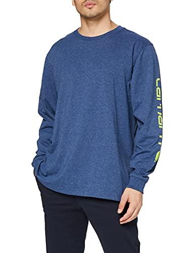 Carhartt Herren Signature Logo Long-Sleeve T-Shirt, Dark Cobalt Blue Heather, 2XL