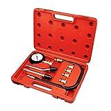 Todeco - Kit Tester Di Compressione, Kit Di 9 Strumenti Per Tester Di Compressione - Materiale: Acciaio C45 - Dimensioni contenitore: 30 x 19,5 x 6 cm - con custodia rossa, 6 Parti
