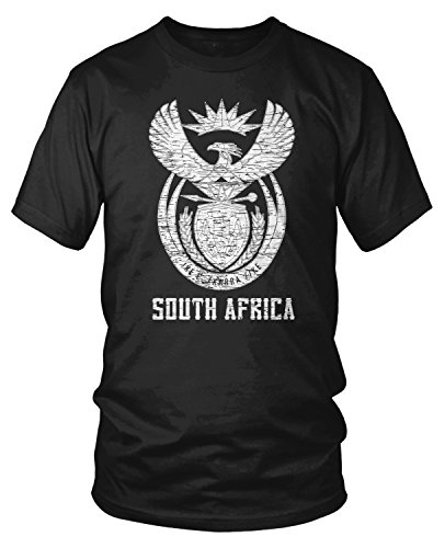 Amdesco Men's South Africa Coat of Arms, South African T-Shirt, Black Large