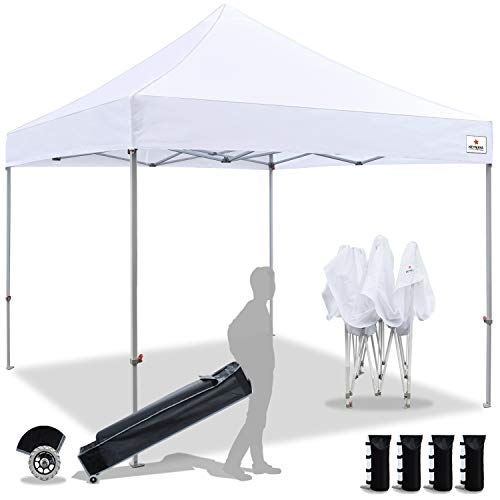 Keymaya 10x10 Ez Pop Up Canopy Tent Commercial Instant Shelter Canopies with Heavy Duty Roller...