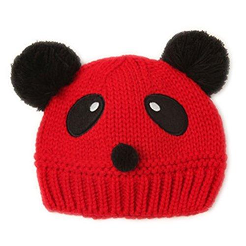 Outflower Bonnet tricoté Cute Panda Forme Garder au Chaud Languette/Adapter Cute Baby Girl Boy(Rouge)