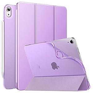 MoKo Funda para iPad Air 4ta Generación 2020 Nuevo iPad 10.9 2020, [Admite Carga Inalámbrica Apple Pencil] Cubierta Protectora Delgada Trasera Transparente TPU Auto-Reposo/Activación, Morado