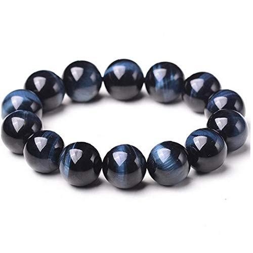 Naicasy 1PC con Cuentas Pulseras de Piedra Natural 8mm joyería de Piedra Roca de la Lava Pulsera Azul del Tigre Pulsera del Ojo de Boho para Hombres y Mujeres