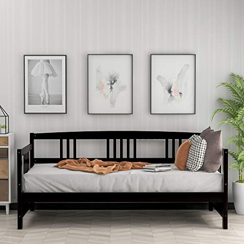 Carkoci Daybed Frame Solid Wood Daybed Frame Support Dual-use Sofa Bed Wood Slat Support and No Box Spring Needed Easily Assembly (Espresso)