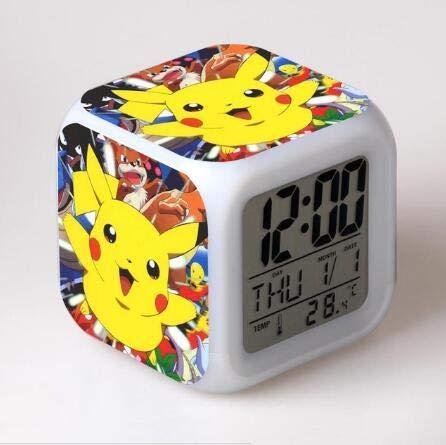 Sunshine Grocery Kids LED 7 Color Anime Pocket Monster Pikachu Pokemon Flash Digital Alarm Clocks Night Light Bedroom Clock reloj despertador,Deep Blue