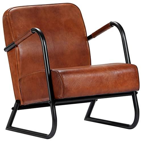 vidaXL Relaxsessel Lehnstuhl Esszimmer Stuhl Sessel Polstersessel Esszimmerstuhl Loungesessel Ledersessel Armsessel Braun Echtleder