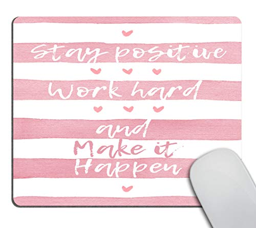 Smooffly Positive Motivating Quote on a Watercolor Striped Background Mousepad, Stay Positive Work Hard and Make It Happen Inspirational Quotes Mouse pad for Work