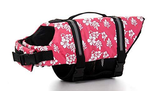 GabeFish Hundeschwimmweste, Sicherheitskleidung, Halsband, Hundegeschirr, Schwimmweste mit reflektierenden Streifen, Bademode, Foralrosa, Größe 2 x S