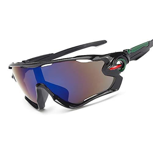 JFNX Occhiali Ciclismo Polarizzati con 3 Lenti Intercambiabili Occhiali Bici Antivento e Antiappannamento Occhiali Sportivi da Sole Anti UV da Uomo Donna per Corsa, MTB e Running,Blue