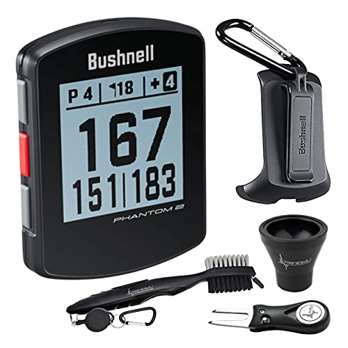 Bushnell Phantom 2 GPS Rangefinder Black with BITE Magnetic Mount and GreenView with Wearable4U Ultimate 3 Golf Tools Bundle