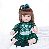 KUMADAI Muñeca Bebe, Renacimiento Muñeca Simulación Juguete para Bebés Hijos Comodidad Sueño Protección Ambiental Muñecas De Silicona Suave Reborn Muñecas16 Pulgadas,Green Plaid