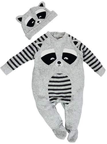Honour & Pride - Baby Mädchen Jungen Schlafstrampler Schlafanzug mit Mütze aus Nicki Gr. 68/74 (6/9M)