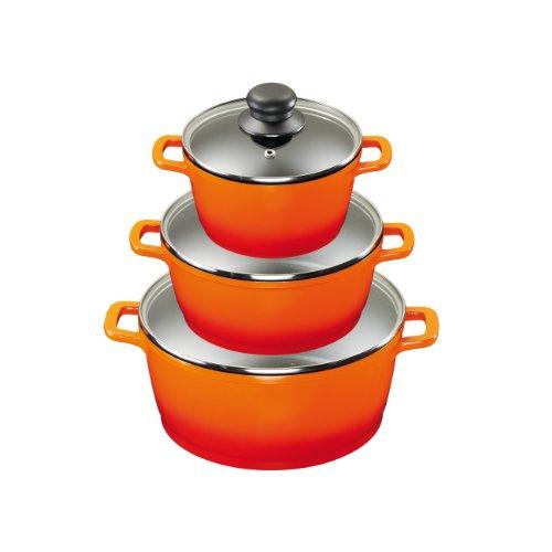 King Aluguss Kochtopfset aus 3 Kochtöpfen mit Deckeln und 2 Henkelpads, Fusion beschichtet, orange, Ø ca. 16, 20, 24 cm