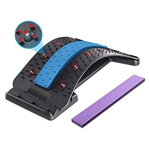 Dyroe Rückenstrecker Rückenmassage Unterstützung Einstellbar Rückendehner mit Magnetischen Perlen, 4 Stufen Back Stretcher für Unterstützung Gerät zur Haltungskorrektur und Rückenschmerzlinderung Blau