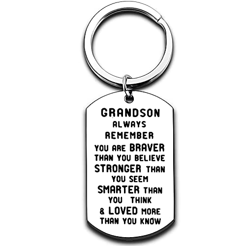 Grandson Keychain Inspirational Gifts for Grandson from Grandmother Grandparents Powerful Message Key Tag Key Chains