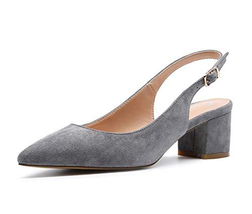 CASTAMERE Women's Slingback Mid Block Heel Pumps Slip-on Pointy Toe Chunky Heels 5CM Heeled Sandals Suede Grey Pump 9 M US