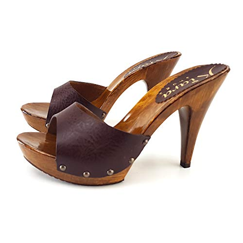 Kiara Shoes Sexy CLOGS FÜR Frauen Leder Braun Heel 11 HANDMADE - K21001 MARRONE
