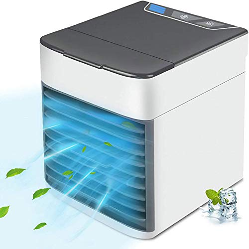 Portable Air Conditioner, Quiet USB Air Cooler with 3 Speed Humidifier Misting Fan, Personal Space Mini Evaporative Air Conditioner with LED Light for Room, Office, Dorm, Bedroom