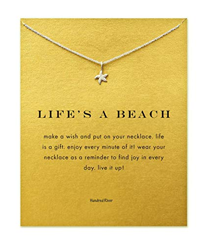 Baydurcan Hundred River Friendship Starfish Necklace with Message Card Gift Card (Starfish s)
