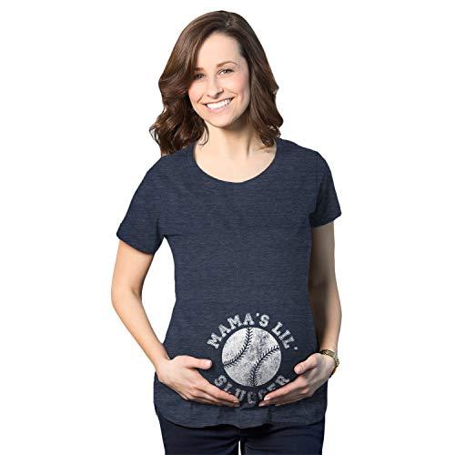 Crazy Dog Tshirts - Maternity Mama's Little Slugger Tshirt Cute Baseball Pregnancy Tee (Heather Navy) - XL - Femme