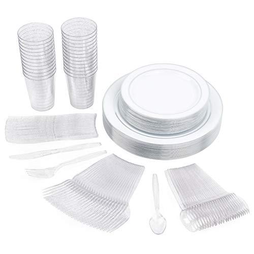 Matana 150 Piezas Vajilla de Plástico Duro: Platos 2 Tamaños, Cubiertos, Vasos.