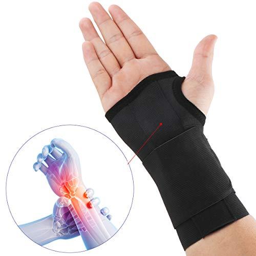 Muñequera de apoyo para síndrome de túnel carpiano, artritis, tendinitis, lesiones por estrés repetitivo, eliminación de lanzamiento temprano para mano derecha, negro, U.S.Solid Producto(M)