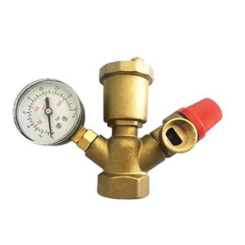 HGFHGD Messingkesselventil DN25 Abgassicherheitsventil mit Manometer Druckventil des Kesselsicherheitskomponentensystems