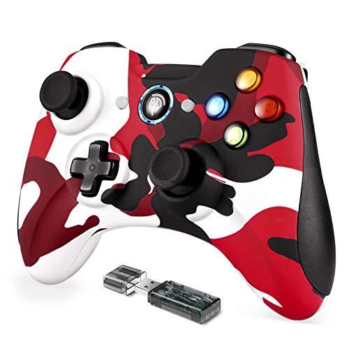 EasySMX Gamepad für PC / PS3, kabellos, 2,4 G, wiederaufladbar, mit doppelter Vibration, für PC PS3, Camouflage Rot
