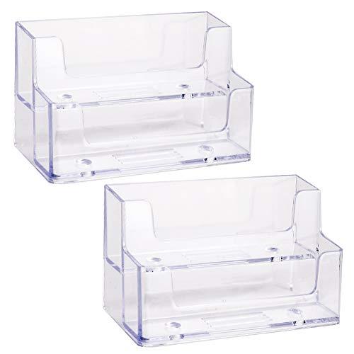 Dorisdoll - Tarjetero para tarjetas de visita, 2 unidades, plástico acrílico, 2 niveles, transparente, para escritorio de oficina, capacidad para 240 tarjetas