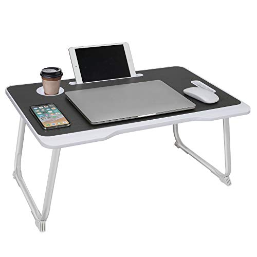 Laptop Bed Tray Table with Handle Folding Laptop Desk Laptop Bed desk Stand Standing Table with Foldable Legs Couch Table Bed Desk Reading Stand Foldable Lap Table for Sofa Couch Floor (Black)