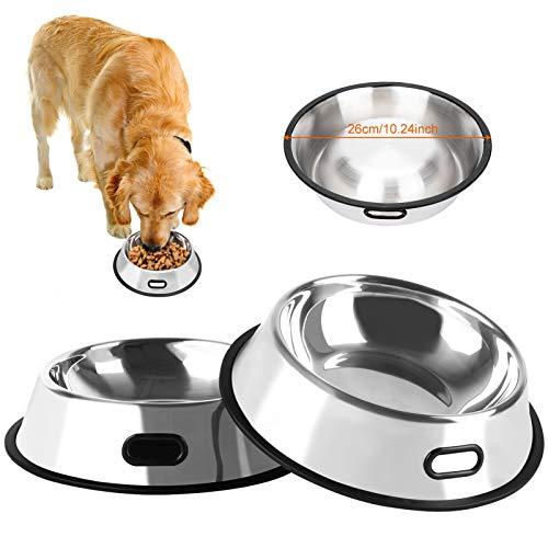 Bangcool 2 Stück Edelstahl Hundenapf, Hund Futternapf/Edelstahlnapf/rutschfeste Hundenäpfe für Hunde & Kleine Hunde(26cm)
