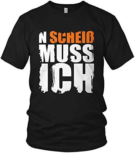 N Scheiß muss ich - Spruch, Sprüche Statement Shirt - Herren T-Shirt und Männer Tshirt, Farbe:Neon Orange, Größe:XL