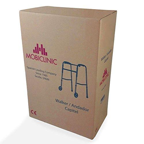 41AeYGZvx0L - Mobiclinic, Modelo Capitel, Andador para mayores, ancianos, adultos o minusvalidos, de aluminio, ligero, plegable, con asiento y 2 ruedas, Color Gris