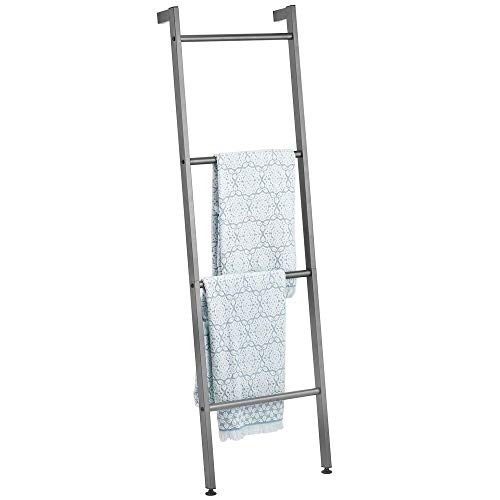 mDesign Metal Free Standing Leaning Decorative Bath Towel Bar Storage Ladder - Holds Towels, Blankets, Throw Blankets, Quilts - 4 Levels - Graphite