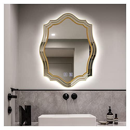 XIAOYUE Espejo de Baño Dorado con luz LED Antivaho, 60 x 90 cm Espejos de Maquillaje Elegantes Vintage con Marco de Madera, Interruptor Táctil