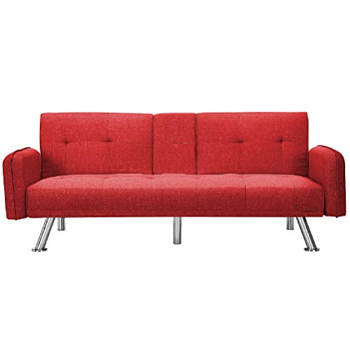 Merax Mini Futon Bed Couch, Modern Sofa Sleeper Design for Living Room or Bedroom, Including Metal Legs and Upholstery Sofabed, 74.8', Red