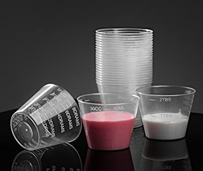Graduated Medicine Cups - Plastic Disposable Measuring Cups - Non Sterile - 1oz, 8drams, 30ml, 30cc, 2tbsp - by HomEquip