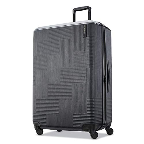 American Tourister Stratum XLT Expandable Hardside Luggage with Spinner Wheels, Jet Black, Checked-Large 28-Inch,122713-1465