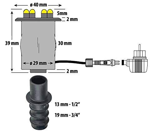 Heissner LED-Set 3 er LED für Steinbrunnen, komplett mit Pumpe, Trafo, etc. ohne Dämmerungssensor und Moosgummis