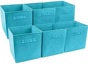 Better Homes and Gardens.. Bookshelf Square Storage Cabinet 4-Cube Organizer (Weathered) (White, 4-Cube) (Aqua, Set of 6 Storage Bins)