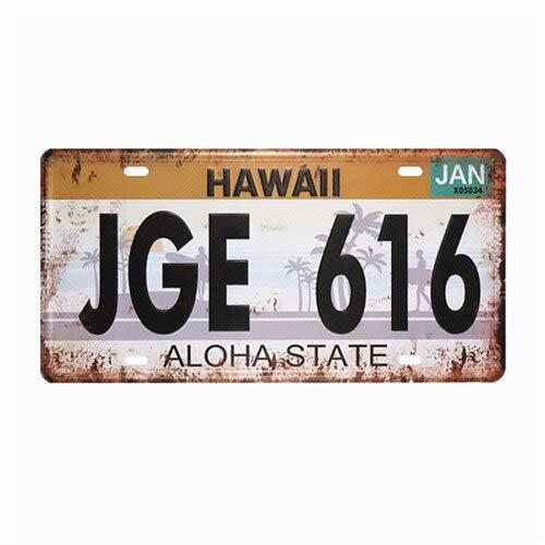 Placa de matrícula - JGE 616 Hawaii Hombre matrícula Cueva Garaje para Firmar Man'S House - Signo de estaño Metal Vintage Retro decoración Mural Pintura de Carteles Placas Arte Pub Barbacoa Bar de CE