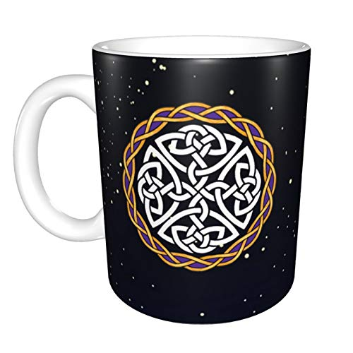 Irish Shield Warrior Celtic Cross Knot Mug Ceramic with Large C-Handle Coffee Mug Cup