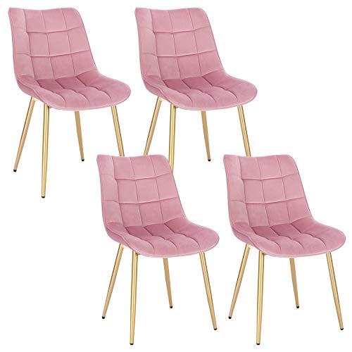 EUGAD 4X Esszimmerstühle 4er Set Küchenstuhl Polsterstuhl Wohnzimmerstuhl Sessel mit Rückenlehne, Samt Sitzfläche, Gold Beine, 0672BY-4, Rosa