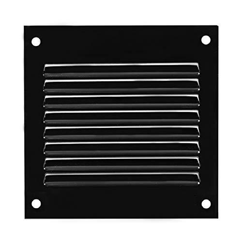 100x100mm Schwarz Lüftungsgitter mit Insektenschutz Abluftgitter Wetterschutzgitter Abluft Zuluft Metall Gitter