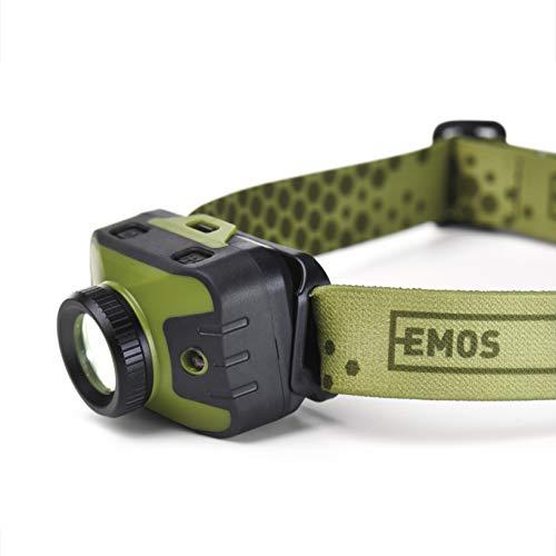 EMOS enfocable roja, IP43, Resistente al Agua con 5 Modos de luz, 330 LM, Alcance de 200 m, 87 Horas de duración, Linterna Frontal LED CREE con Enfoque, Verde
